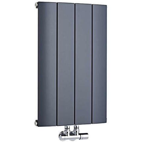 Radiador de Diseño Horizontal Con Conexión Central - Aluminio - Antracita - 600mm x 1135mm x 45mm - 1535 Vatios - Aurora