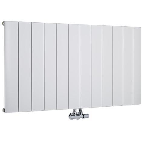 Radiador de Diseño Horizontal Con Conexión Central - Aluminio - Blanco - 600mm x 945mm x 45mm - 1279 Vatios - Aurora