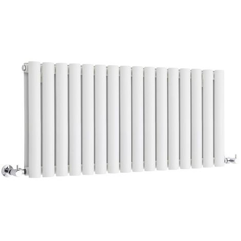 Radiador de Diseño Horizontal Doble - Blanco - 400mm x 1000mm x 78mm - 1171 Vatios - Revive