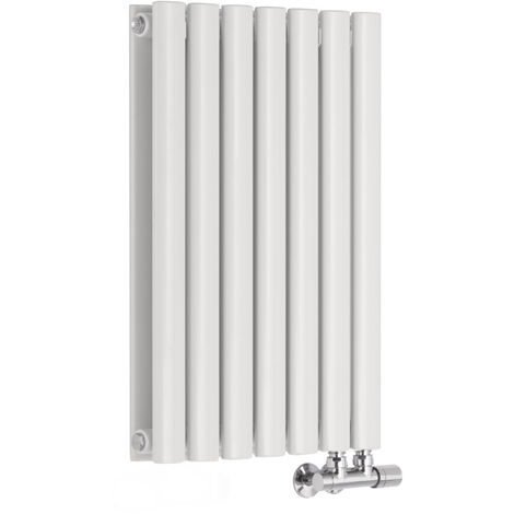 Radiador de Diseño Horizontal Doble Con Conexión Central - Blanco - 635mm x 415mm x 78mm - 729 Vatios - Revive Caldae