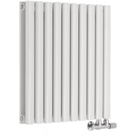 Radiador de Diseño Horizontal Doble Con Conexión Central - Blanco - 635mm x 590mm x 78mm - 1042 Vatios - Revive Caldae