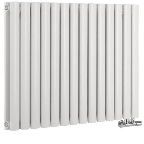 Radiador de Diseño Horizontal Doble Con Conexión Central - Blanco - 635mm x 834mm x 78mm - 1461 Vatios - Revive Caldae