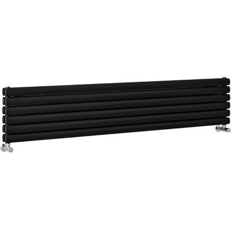 Radiador de Diseño Horizontal Doble - Negro - 354mm x 1780mm x 78mm - 1324 Vatios - Revive