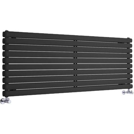 Radiador de Diseño Horizontal Doble - Negro - 590mm x 1780mm x 78mm - 2066 Vatios - Revive
