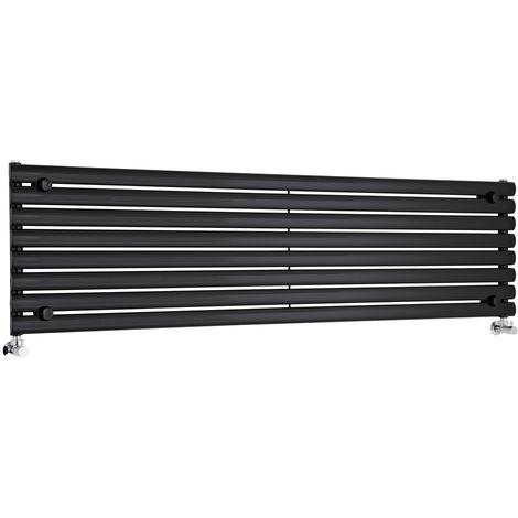 Radiador de Diseño Horizontal - Negro - 472mm x 1780mm x 56mm - 1504 Vatios - Revive