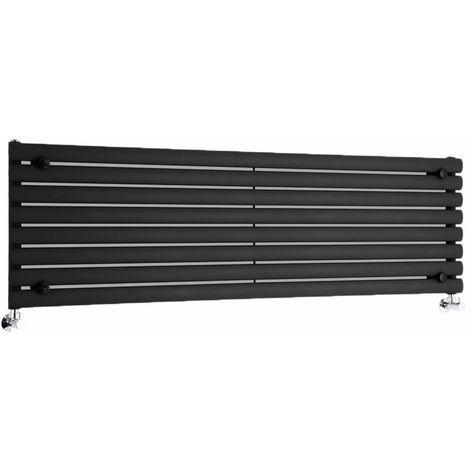 Radiador de Diseño Horizontal - Negro Lúcido- 472mm x 1600mm x 56mm - 1304 Vatios - Revive