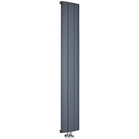 Radiador de Diseño Vertical Con Conexión Central - Aluminio - Antracita - 1800mm x 470mm x 45mm - 1919 Vatios - Aurora