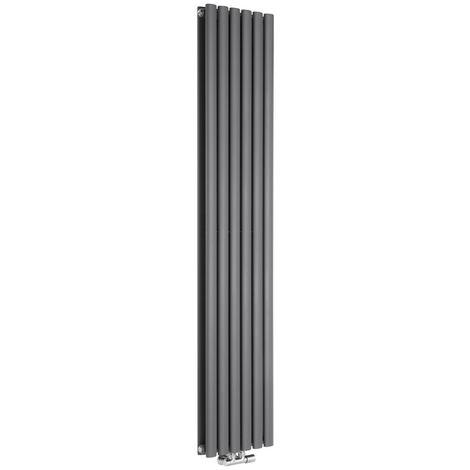 Radiador de Diseño Vertical Doble Con Conexión Central - Antracita - 1780mm x 354mm x 56mm - 1301 Vatios - Revive Caldae