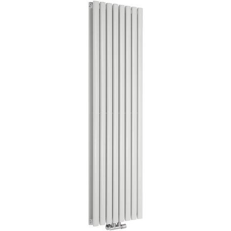 Radiador de Diseño Vertical Doble Con Conexión Central - Blanco - 1600mm x 472mm x 78mm - 1718 Vatios - Revive Caldae