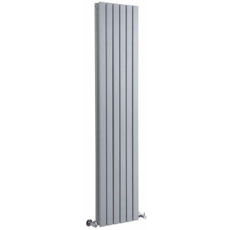 Radiador de Diseño Vertical Doble - Plateado - 1600mm x 354mm x 72mm - 1193 Vatios - Sloane