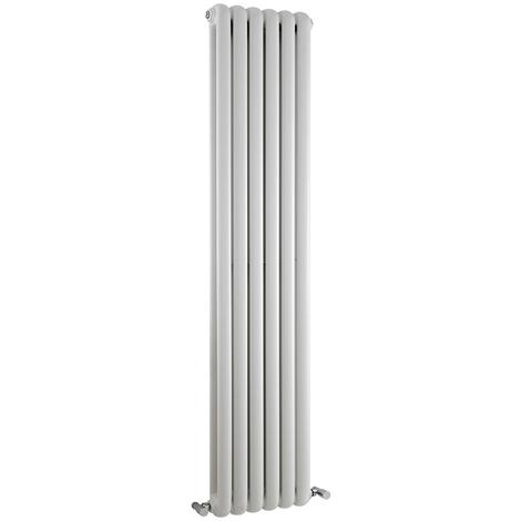 Radiador de Diseño Vertical Doble Tradicional - Blanco - 1500mm x 383mm x 80mm - 1258 Vatios - Saffre