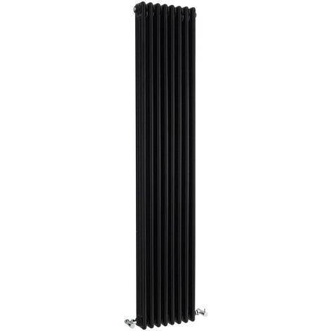 Radiador de Diseño Vertical Triple Tradicional - Negro - 1800mm x 381mm x 100mm - 1558 Vatios - Regent