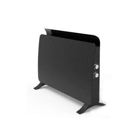 Radiador panel cristal templado color negro con termostato 750 W/ 1500 W