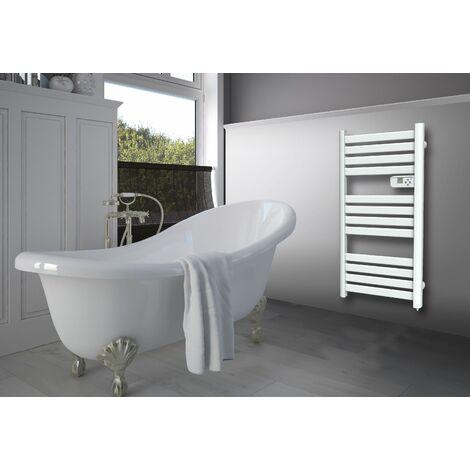 Radiador toallero eléctrico 500W blanco con hojas planas y finas Cayenne - Blanc