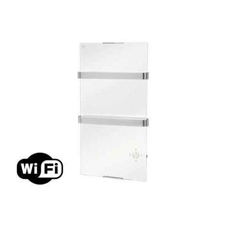 Radiador toallero eléctrico de cristal templado blanco y control por App WIFI ZAFIR V600T W