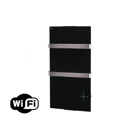 Radiador toallero eléctrico de cristal templado negro y control por App WIFI ZAFIR V600T B