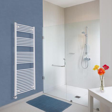 Radiador Toallero Eléctrico Vertical Hudson Reed Etna Diseño Moderno - Radiador Toallero en Escalera - Acero Inoxidable Blanco - 1000W - 1800 x 600mm