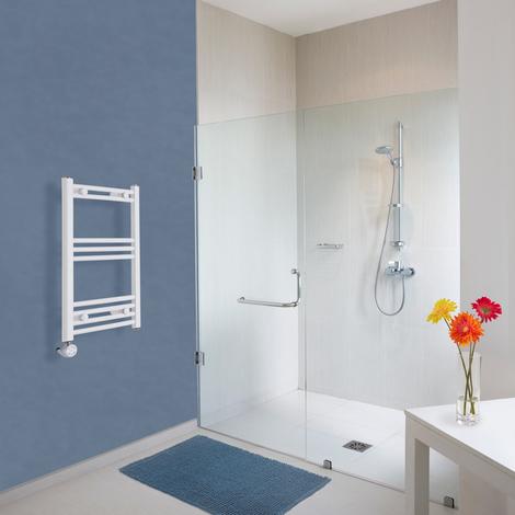 Radiador Toallero Eléctrico Vertical Hudson Reed Etna Diseño Moderno - Radiador Toallero en Escalera - Acero Inoxidable Blanco - 400W - 700 x 400mm