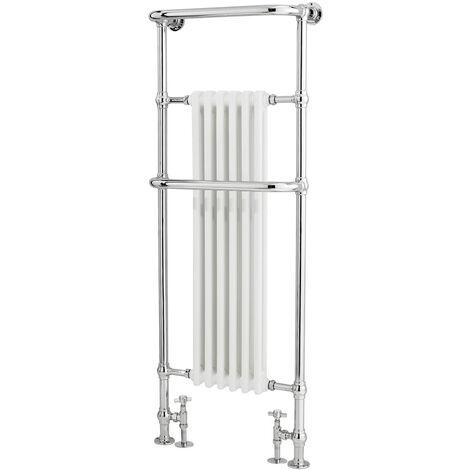 Radiador Toallero Tradicional - Cromado y Blanco - 1500mm x 575mm x 235mm - 792 Vatios - Brampton