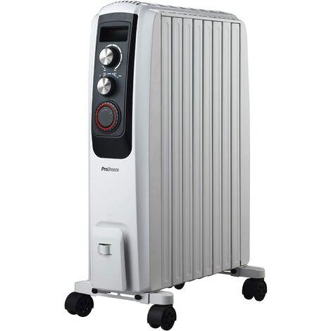 Radiateur à Bain d'Huile 2000W, 8 colonnes, Minuteur, 3 puissances de chauffage, Thermostat, Portable Pro Breeze