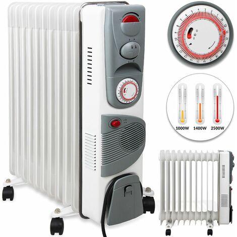 Radiateur à bain d'huile 2500W Chauffage électrique d'appoint Modèle au choix