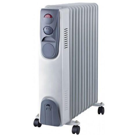 Radiateur à bain d'huile NIKLAS Électrique 2500W. Corps metal 11 élements, thermostat d'ambiance et 3 puissances de chauffe.