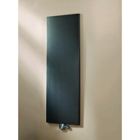Radiateur à eau chaude New York, noir, inertie fluide, vertical, raccord central, 180 x 46 cm, 800 W, Schulte