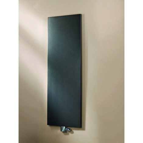 Radiateur à eau chaude New York, noir, inertie fluide, vertical, raccord central, 180 x 46 cm, 800 W, Schulte - Noir