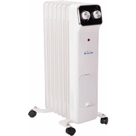 Radiateur à huile 1500 W basse consommation avec thermostat et 3 niveaux de puissance