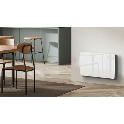 radiateur inertie c ramique verre blanc lcd 1000w. Black Bedroom Furniture Sets. Home Design Ideas