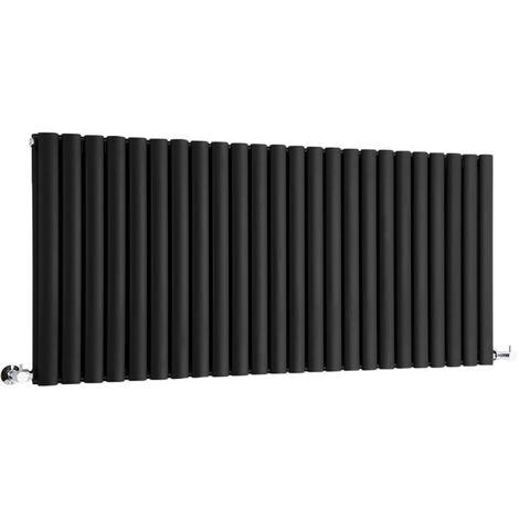 Hudson Reed Vitality – Radiateur Design Horizontal – Noir – 63,5 x 141,1cm Double Rang
