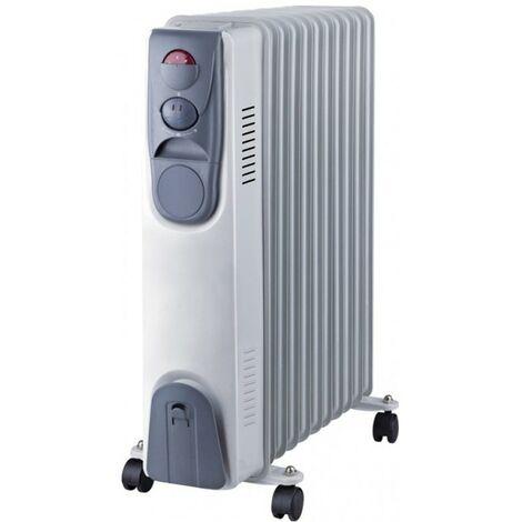 Radiateur bain d\'huile 2500W NIKLAS 230V 3 puissances de chauffe - Thermostat - Corps metal verni