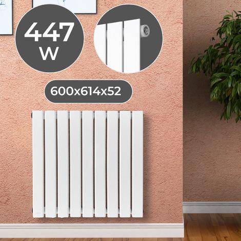 Radiateur Chauffage Central Horizontal Mural Design Plat Acier Blanc Taille au Choix
