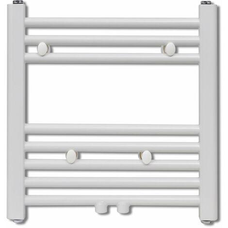 Radiateur chauffage central sèche-serviettes circulation d'eau chaude hauteur 48 cm salle de bain blanc - Blanc