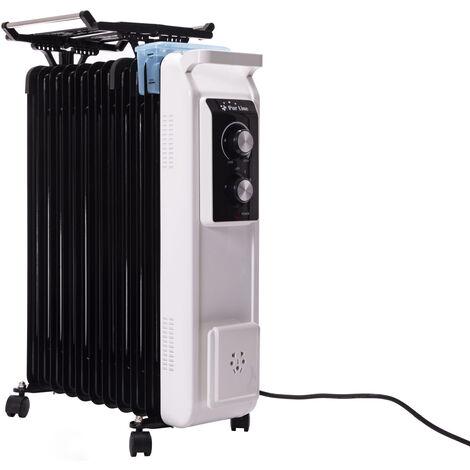 Radiateur d'huile 2500W avec corde à linge et réservoir d'humidification