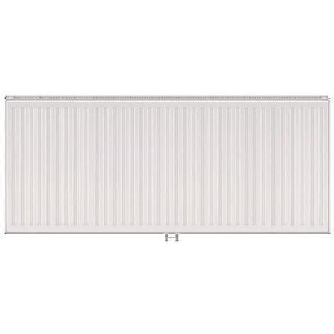 Radiateur eau chaude 1466W panneau double blanc type 21 H400mm L1400mm raccordement central VONOVA T6 FINIMETAL 21VM40-1400