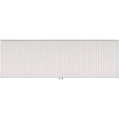 Radiateur eau chaude 2443W panneau double blanc type 21 H600mm L1800mm raccordement central VONOVA T6 FINIMETAL 21VM60-1800
