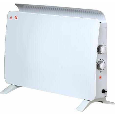 Radiateur électrique à convection, panneau en verre trempé blanc