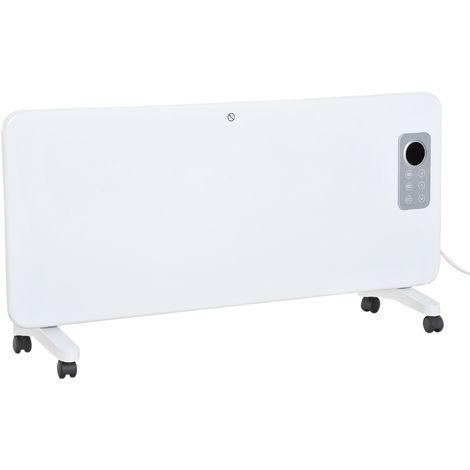 Radiateur électrique avec thermostat + télécommande chauffage panneau rayonnant mobile sur roulettes écran LED minuterie 1000 / 2000 W max. acier blanc