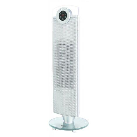 Radiateur electrique soufflant 1200W-2000W céramique argent tour design 687X230X230mm thermostat prog CHILLOUT ARGO 191070150