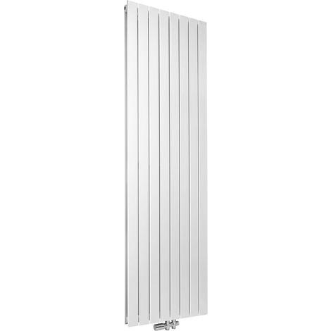 Radiateur FASSANE eau chaude horizontal double à éléments verticaux 615 w hauteur 600 mm largeur 592 mm 8 éléments blanc réf. SHXD-060-059