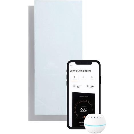 Radiateur infrarouge electrique controle par application intelligente ultra mince Wifi 850 W. Blanc