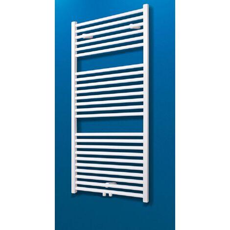 Radiateur sèche-serviette à eau chaude, blanc, inertie fluide, vertical, raccord central, Schulte, 150 x 60 cm, 890 W