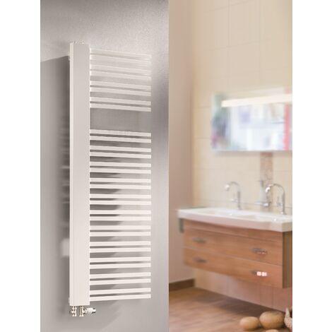 Radiateur sèche-serviette à eau chaude Bologna, blanc, inertie fluide, raccord sur les côtés, Schulte, version droite, 160 x 60, 930 W