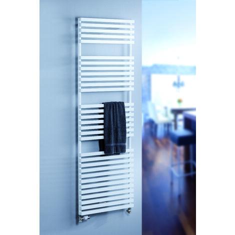 Radiateur sèche-serviette à eau chaude Genf, blanc, inertie fluide, raccord sur les côtés, 120 x 60, 720 W - Schulte