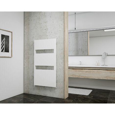 Radiateur sèche-serviette à eau chaude Turin, blanc, inertie fluide, vertical, raccord central, Schulte, 170 x 60 cm, 725 W