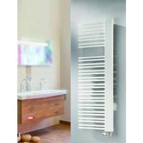 Radiateur sèche-serviette Bologna, blanc, raccord sur les côtés : 4 modèles - Schulte