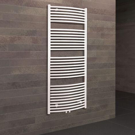 Radiateur sèche-serviette vertical électrique Europa, blanc, inertie fluide, 150 x 60 cm, 820 W, raccord central - Blanc