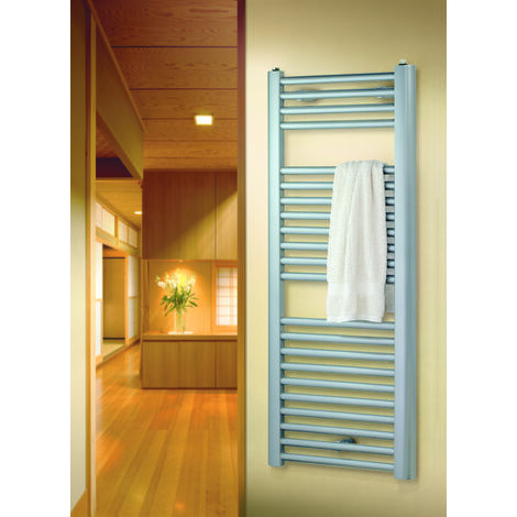 Radiateur sèche-serviette vertical San Remo, métallique argenté - Schulte