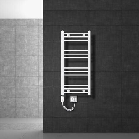 Radiateur sèche-serviettes à élément chauffant 300 W modèle ECD Germany Sahara 400 x 800 mm orifice latéral plié blanc porte-serviette